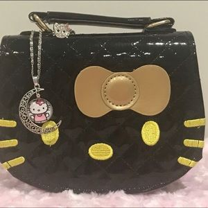 Hello Kitty Black Purse with Necklace & Ring